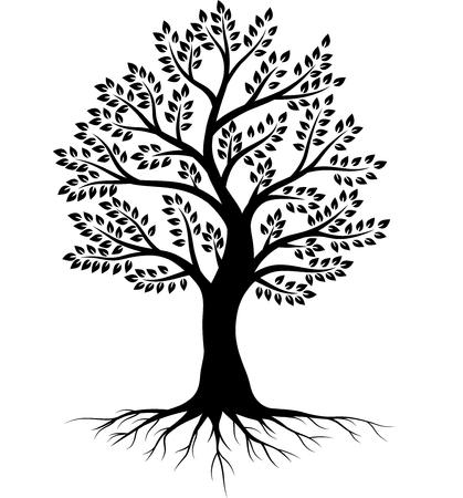Ilustración de vector de silueta de árbol sobre fondo blanco