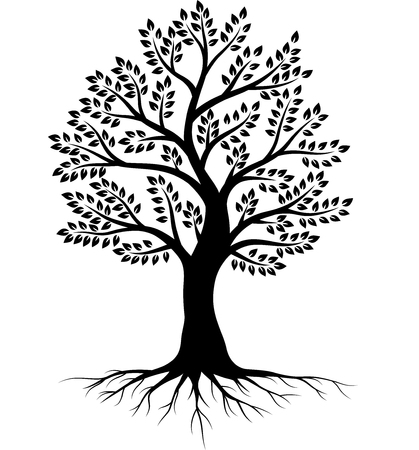 Ilustracja wektorowa sylwetki drzewa na białym tle