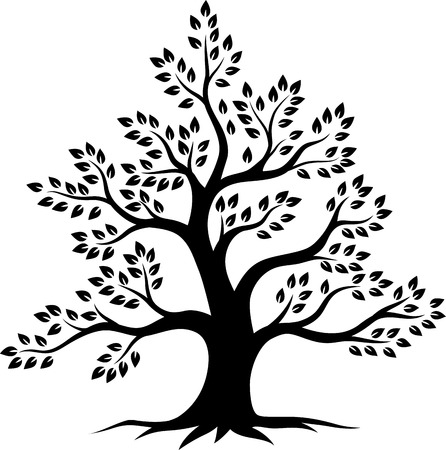 Vector illustration of Tree silhouette on white background Archivio Fotografico - 123719070