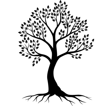 Vector illustration of Tree silhouette on white background