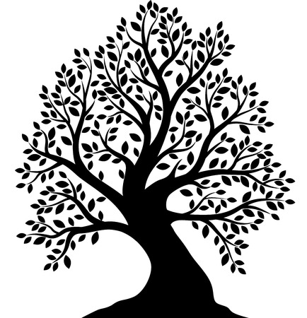 Vector illustration of Tree silhouette on white background Vetores