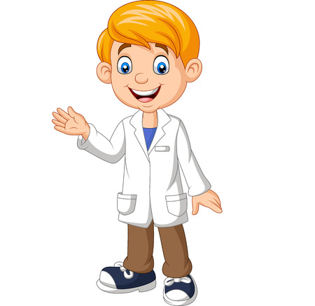 Vector illustration of Cartoon boy scientist wearing lab white coat waving Vettoriali