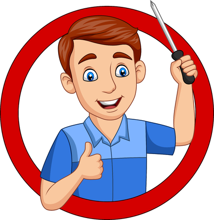 Vector illustration of Cartoon male workers holding a screwdriver Illustration