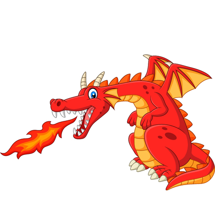 Vector illustration of red dragon spitting fire Иллюстрация