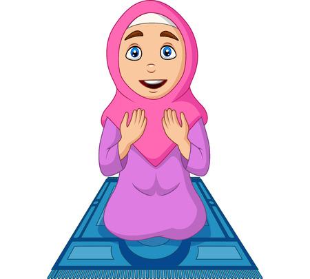 Illustration vectorielle de femme musulmane de dessin animé priant sur le tapis de prière Vecteurs