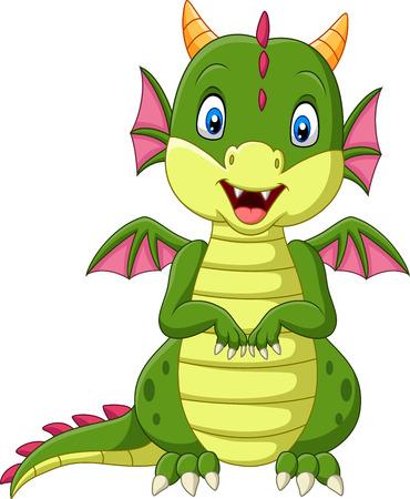 Ilustración de vector de dragón bebé de dibujos animados sobre fondo blanco