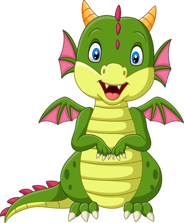 Vector illustration of Cartoon baby dragon on white background