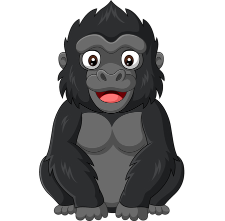 Vector illustration of Cartoon baby gorilla on white background