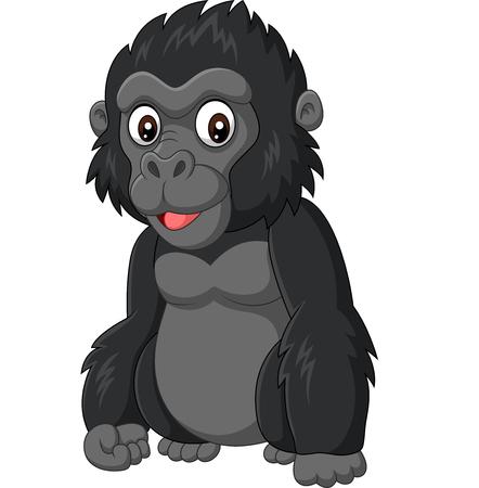 Ilustración de vector de gorila bebé de dibujos animados sobre fondo blanco