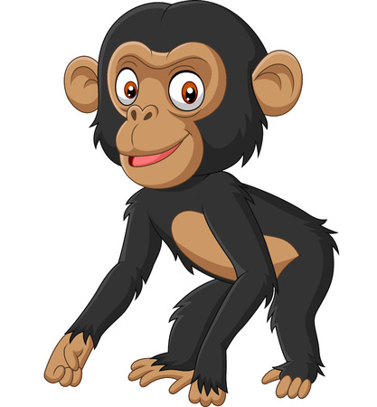 Vector illustration of Cute baby chimpanzee cartoon on white background 矢量图像