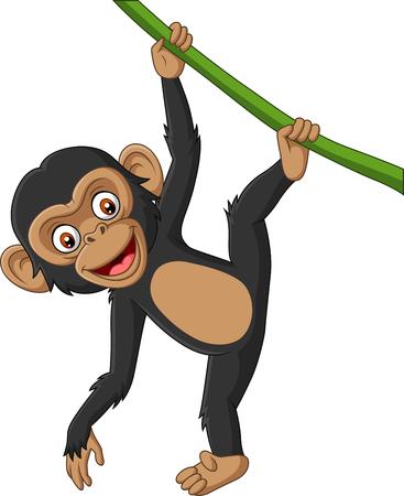 Illustration vectorielle de dessin animé bébé chimpanzé suspendu à une branche d'arbre Vecteurs