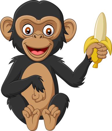 Vektorillustration des Karikaturbabyschimpansen, der eine Banane hält