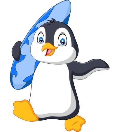 Vector illustration of Cartoon penguin holding a surfboard