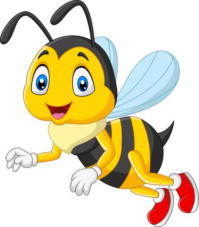 Illustration vectorielle de dessin animé heureux abeille isolé sur fond blanc Vecteurs