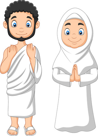Vector illustration of Cartoon Muslim Man and Woman wearing Ihram clothing