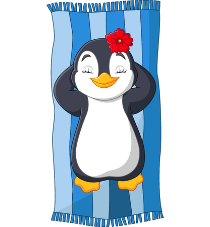 Vector illustration of Cartoon female penguin sunbathing on the beach