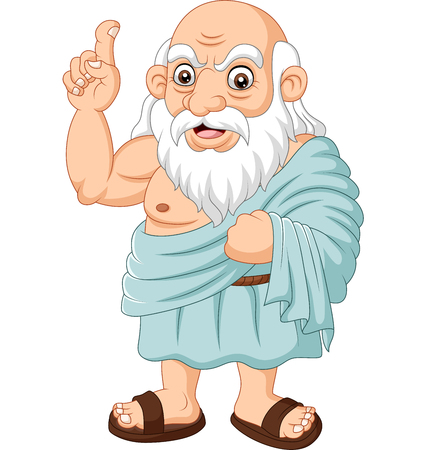 Vector illustration of Cartoon ancient Greek philosopher on white background Stock Illustratie