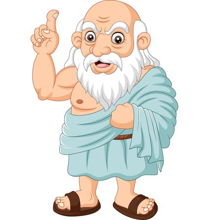 Vektorillustration des antiken griechischen Philosophen der Karikatur auf weißem Hintergrund