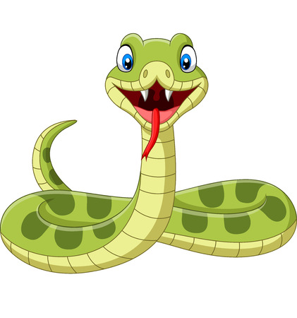 Vector illustration of Cute green snake cartoon on white background Illustration