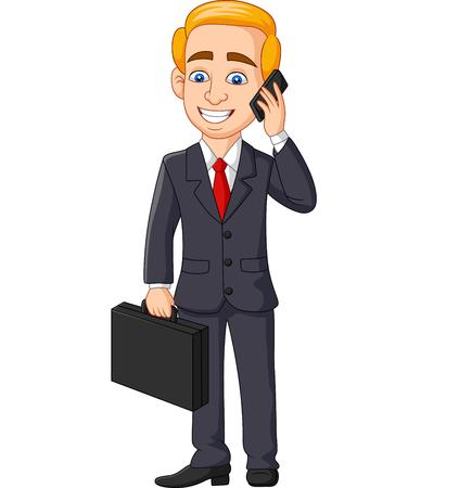 Vector illustration of Cartoon Businessman talking on phone holding folder briefcase