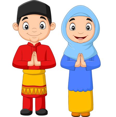 Vector illustration of Happy Muslim kids cartoon on white background