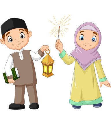 Vector illustration of Happy Muslim kids with Quran Book and Ramadan Lantern Ilustração