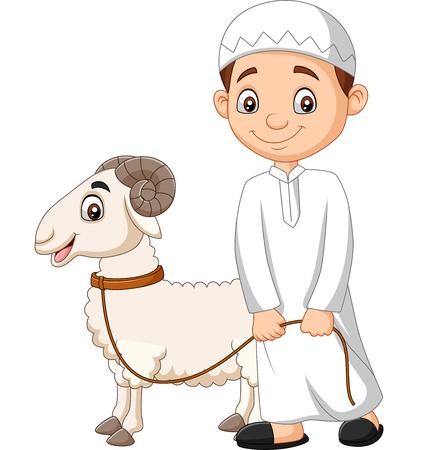 Vector illustration of Cartoon Muslim boy with a goat Ilustração