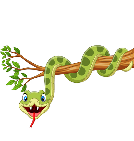 Vector illustration of Cartoon green snake on tree branch