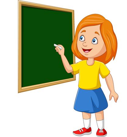 Vector illustration of Cartoon schoolgirl writing on the blackboard