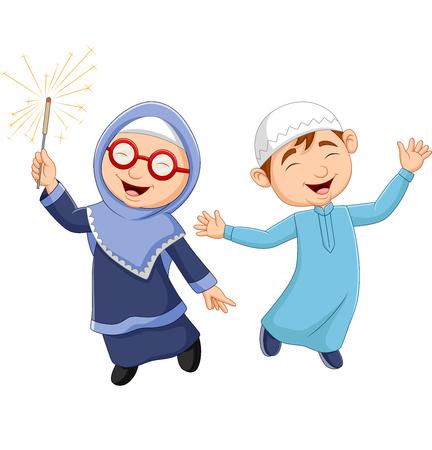 Vector illustration of Happy Muslim kid cartoon on white background Ilustração