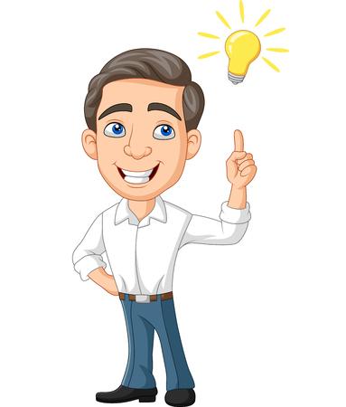 Vector illustration of Cartoon Businessman with idea bulb