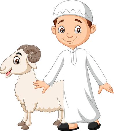 Vector illustration of Cartoon Muslim boy holding a goat Ilustração