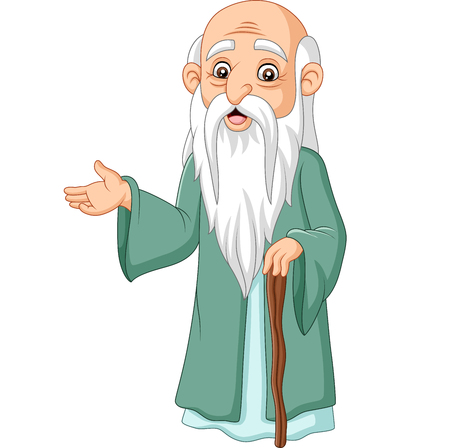 Vectorillustratie van Cartoon filosoof denker op witte achtergrond