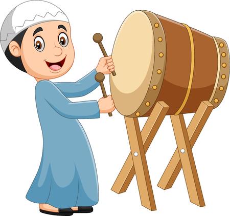 Vector illustration of Cartoon Muslim boy hitting Bedug