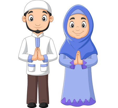 Vector illustration of Cartoon Muslim man and woman couple on white background