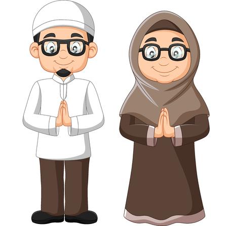 Ilustración de vector de dibujos animados de la vieja pareja musulmana sobre fondo blanco Ilustración de vector