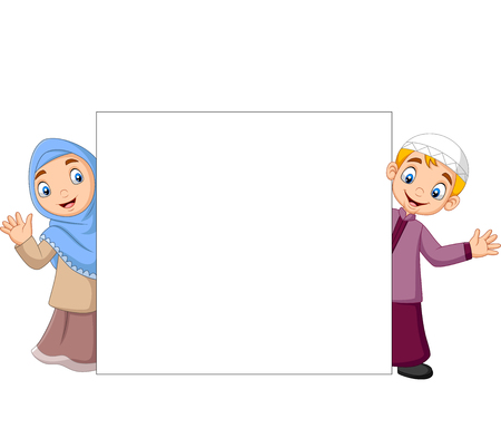 Vector illustration of Happy Muslim kids cartoon with blank sign Ilustração