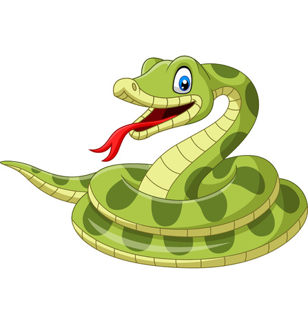Vector illustration of Cartoon green snake on white background Ilustração
