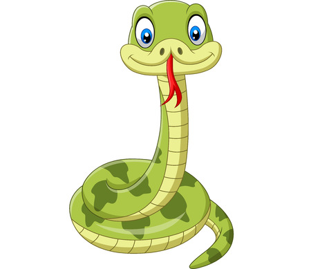 Vector illustration of Cute green snake cartoon on white background Ilustração