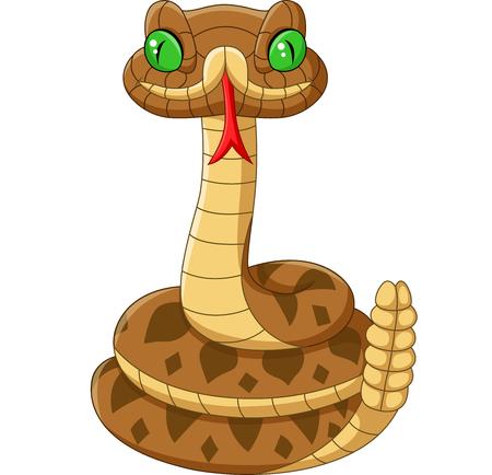 Vector illustration of Cartoon brown snake on white background