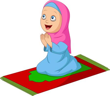Vector illustration of Cartoon Muslim girl praying on the prayer rug