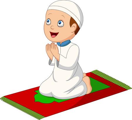 Illustration vectorielle de garçon musulman de dessin animé priant sur le tapis de prière Vecteurs
