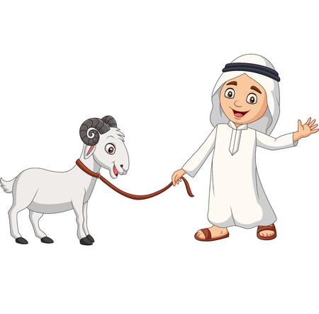 Vector illustration of Cartoon Arab Muslim boy with a goat Ilustração