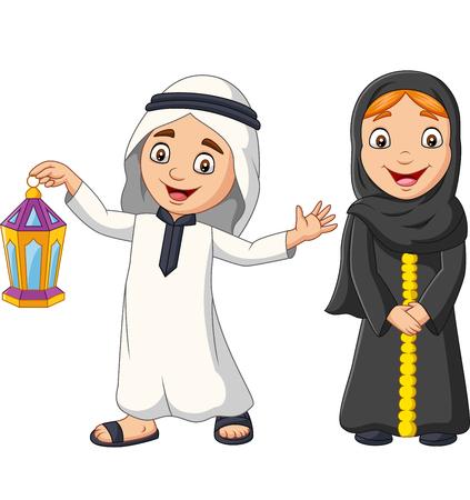Vector illustration of Happy Arab Muslim kids with Ramadan Lantern Ilustração