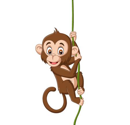 Vector illustration of Cartoon baby monkey hanging on a tree branch Ilustração