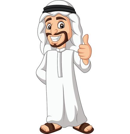 Vector illustration of Cartoon Saudi Arab man giving a thumb up Ilustração