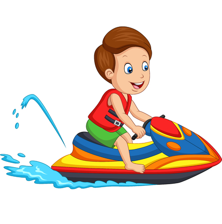 Vector illustration of Cartoon little boy rides a jet ski Ilustração