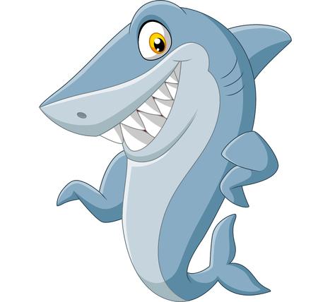 Vector illustration of Cartoon shark waving on white background