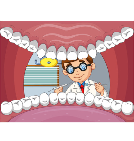 Vector illustration of Cartoon dentist check tooth into open mouth of patient