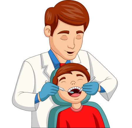 Vektorillustration des kleinen Jungen der Karikatur, der seine Zähne vom Zahnarzt überprüft